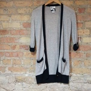 Barney's CO-OP Long Black and Gray Cardigan S
